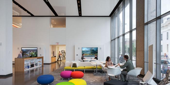 Bureau HOK - Panneaux de plafond personnalisés Blanc laqué