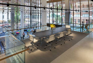 HOK office meeting space with its personalized ceiling panels
