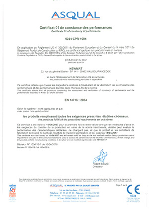 Certificat de constance des performances 2016/2017
