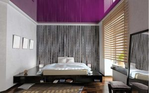 a purple lacquered stretch ceiling