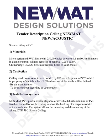 NEWMAT Ceiling Tender Description
