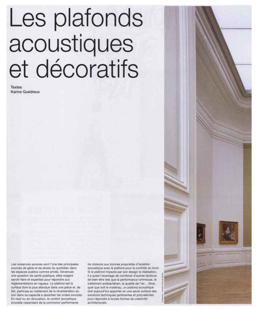Les plafonds acoustiques et décoratifs