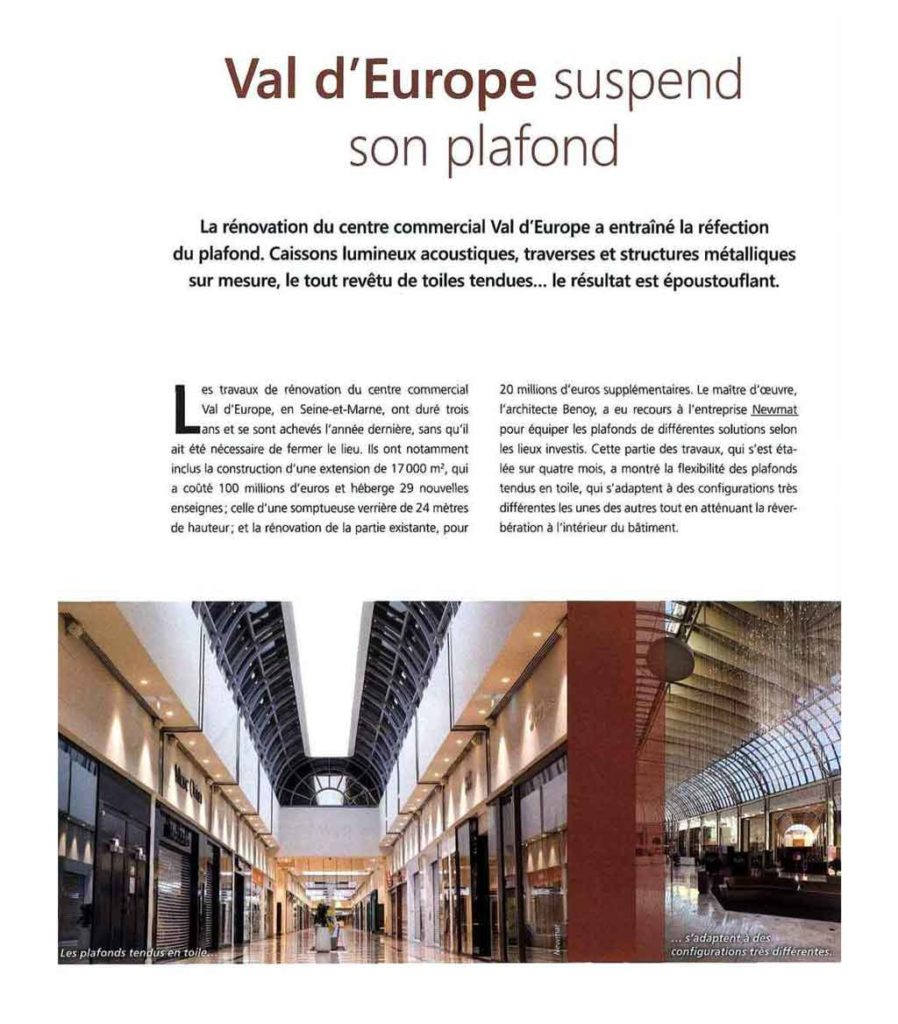 Val d'Europe suspend son plafond
